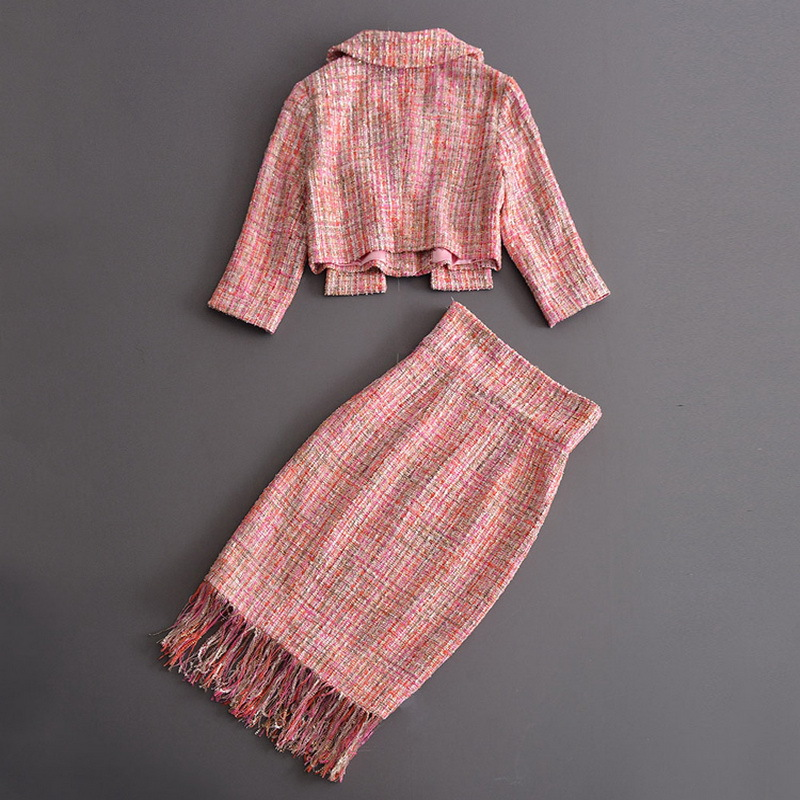 Free ShipïSuits Skirts Outfits Runway Two-Piece-Set Tweed-Jacket Coats Short Tassels Office Women
