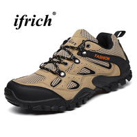Man Hiking Shoes Black Brown Tactical Sneakers Man Spring Autumn Man Camping Shoes Rubber Bottom Anti slip Mountain Shoes