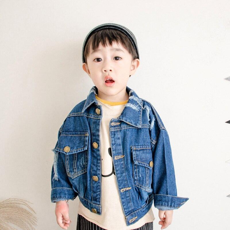 86312b575 2 8Yrs Baby Boys Denim Jacket   Coat children blue Hole Denim ...