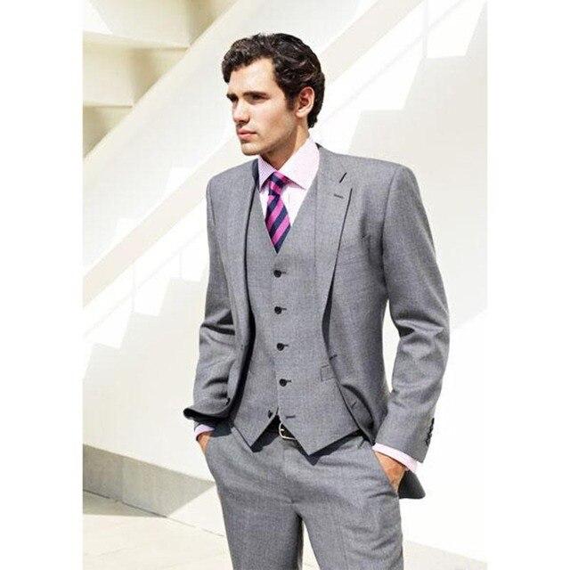 Gris clair mari hommes costume smoking entaill revers de mariage costumes pour hommes 3 pi ces - Costume homme gris clair ...