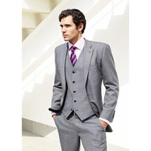 Light gray groom mens suit tuxedo notched lapel wedding suits for men 3 pieces costume homme grey slim fit terno masculino 2017