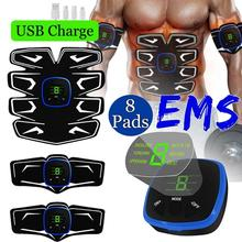 Rechargeable Abdominal Muscle Stimulator Exerciser Vibration Trainer Body Slimming GymFitness Workout Equipmemt
