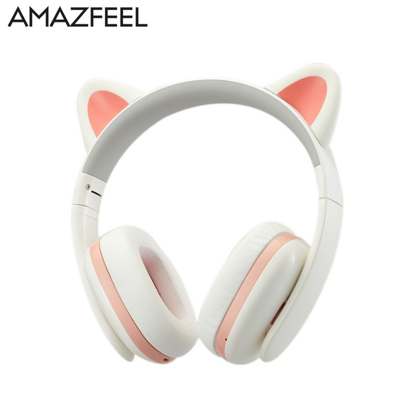 Detachable Wireless Cat Ear Headphone bluetooth With LED Glowing for PC Computer Mobile Phone Best Headset For Kids Girls цены