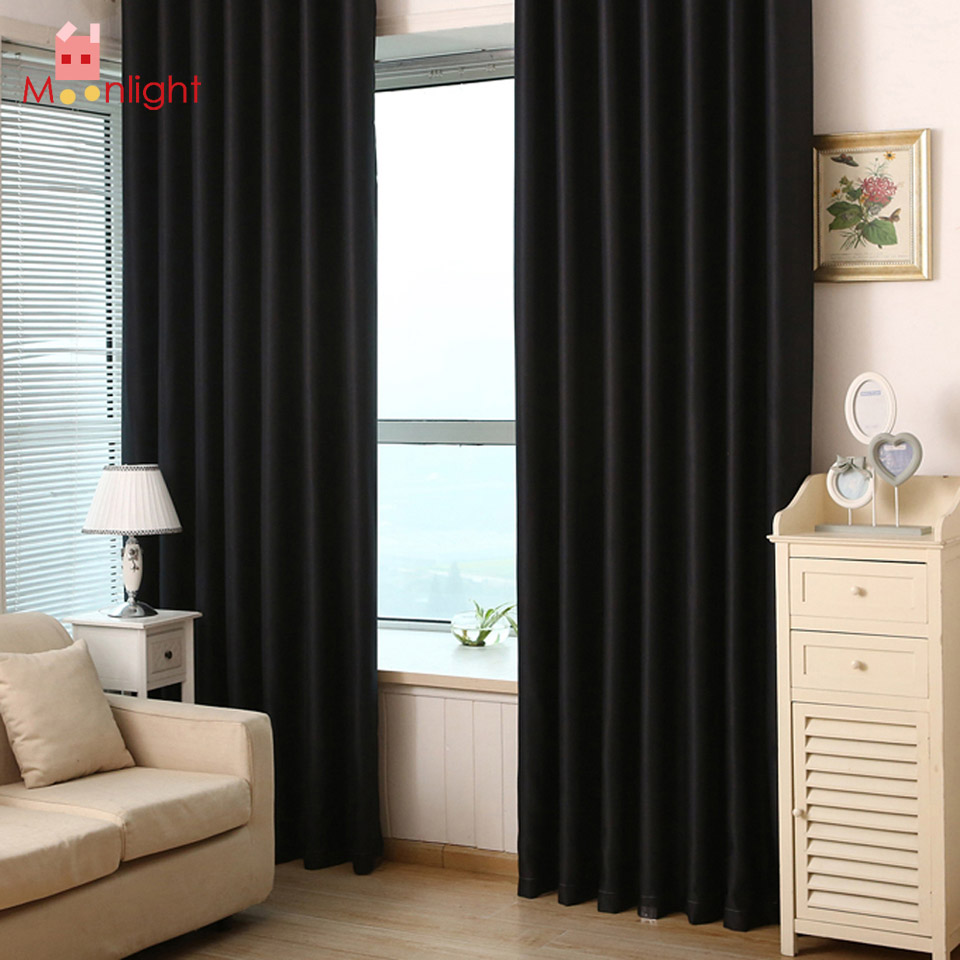 Black Blackout Font B Curtains
