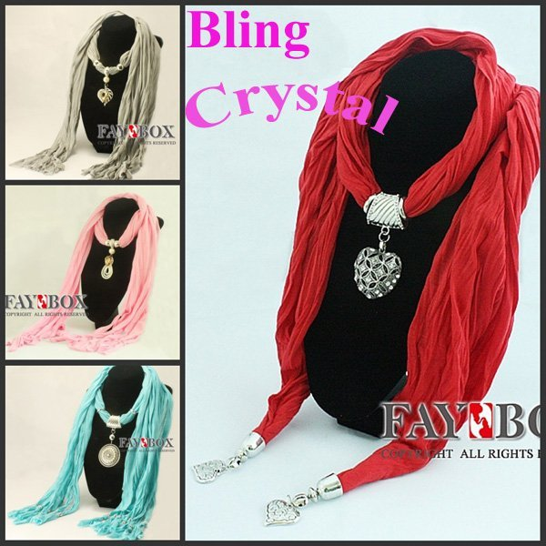 HOT! 24pc/lot, mix designs colors shipping,Fashion Luxury women Bling crystal stone Pendant Scarves, New Design With Jewelry