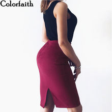 Multi colors 2017 Women Skirt Winter Solid Suede Work Wear Package Hip Pencil Midi Skirt Autumn Winter Bodycon Femininas SP618(China)