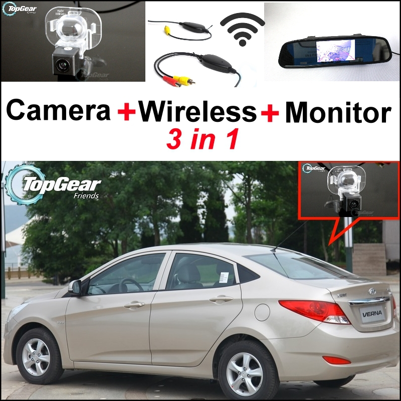 3 in1 Special Camera + Wireless Receiver + Mirror Monitor Easy DIY Parking System For Hyundai Grand Avega Solaris Fluidic wireless pager system 433 92mhz wireless restaurant table buzzer with monitor and watch receiver 3 display 42 call button