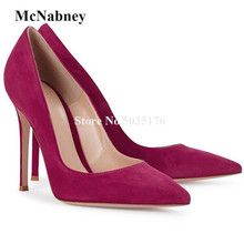 Women Classical Style Pointed Toe Suede Leather Stiletto Heel Pumps Red Pink Slip-on Vogue High Heels Formal Dress Shoes cow suede leather pumps shoes women med high heel shoes summer autumn slip on pointed toe stiletto thin heels casual pumps e0005