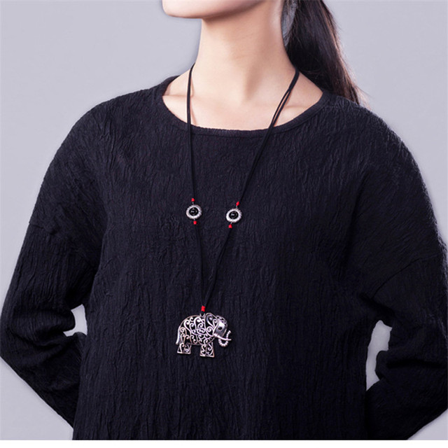 2016 New arrivals women sweater necklaces hot sale tibetan silver elephant pendant vintage jewelry online shopping india BX003
