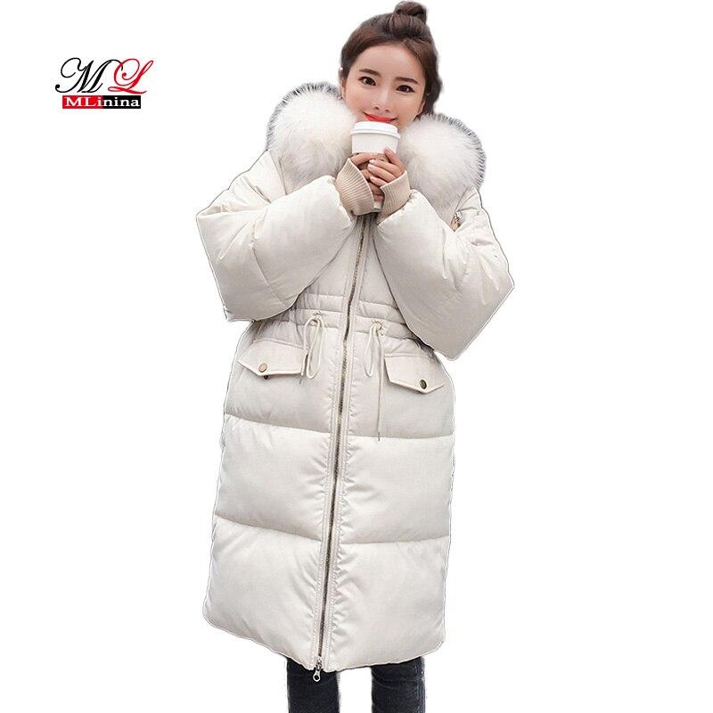 MLinina Winter Jacket Women Large Real Raccoon Fur Collar White Duck Down Long   Parkas   Coat Female Hooded Pockets Snow Outwear