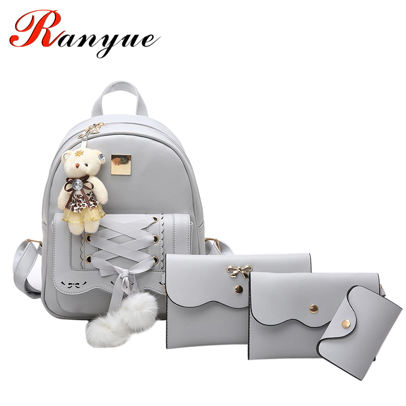 все цены на RANYUE Backpack Women Leather Fashion Women Backpack Cute School Bags Girls Mini Bolsas Femininas Bolsas De Marcas Famosas Sac