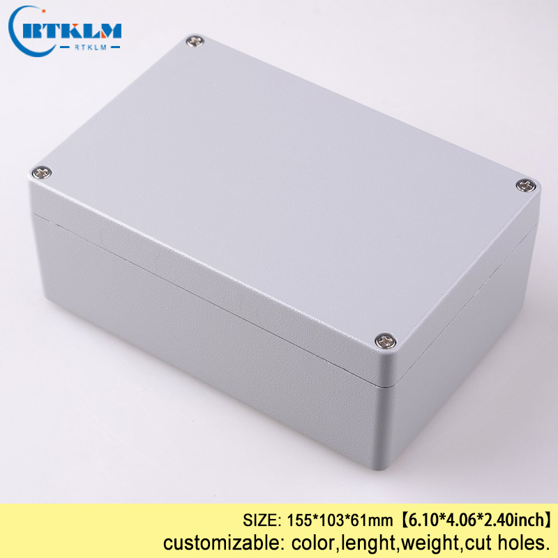 Aluminum electronics enclosure control box diy PCB design wire connection instrument case waterproof junction box 155*103*61mm aluminum exterior electrical enclosure outdoor waterproof use for electronics pcb box connection junction box project case