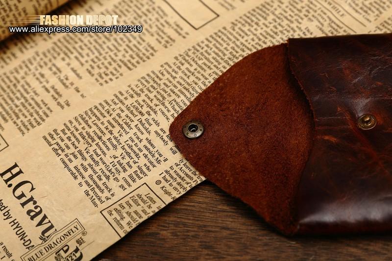 Oil Waxed Dark Brown Credit Card Wallet Card Bag Coin Wallet man and women (11)