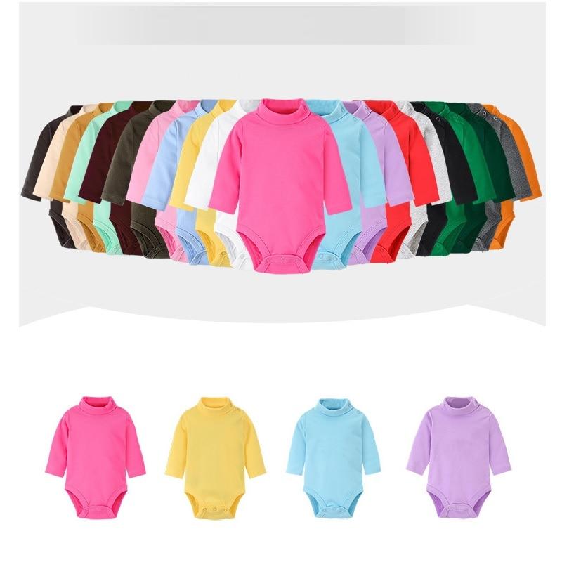 Hooyi Baby Girls Bodysuits  Cotton Soft Newborn Jumpsuits Infant Clothes Solid Turtleneck Pajamas Shirts Tops