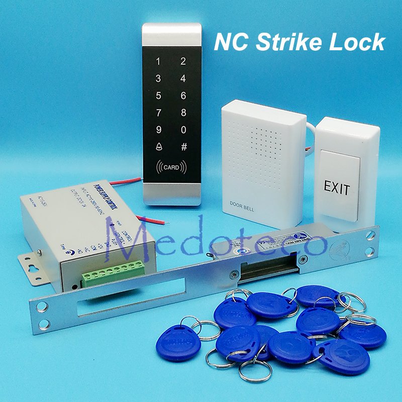 125khz Rfid Access Control System Kit for Narrow Door Touch keypad Access Control+NC Electric Strike Lock +Access Power Supply diy waterproof 125khz rfid door access control kit set electric strike lock 10 rfid card outdoor touch keypad access control