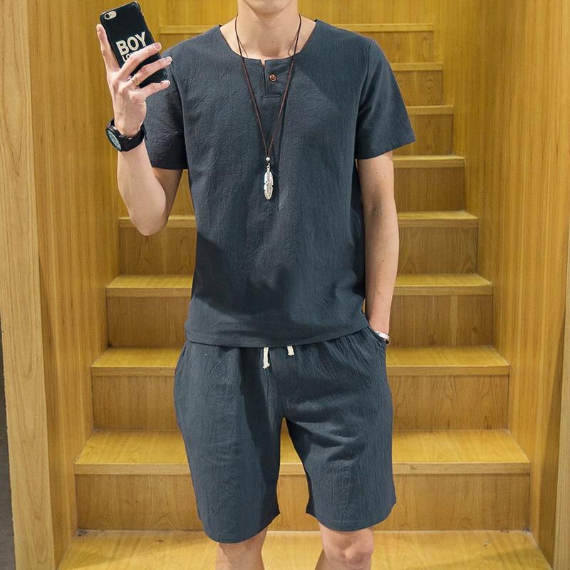 2017 Pajamas For Men Summer Male Sleep Short-Sleeve Linen Shorts Fluid Thin Lounge Pajama Set Plus Size 5XL