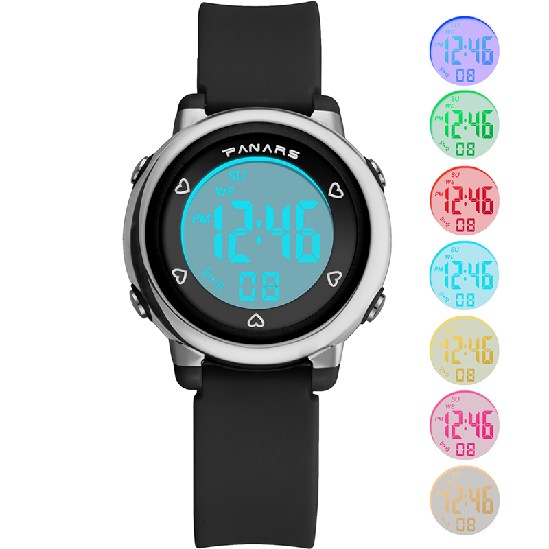 PANARS Children's Electronic Watch Silicone Baby Digital Watch Luminous Waterproof Alarm Clock Multi-function Watches For Kids
