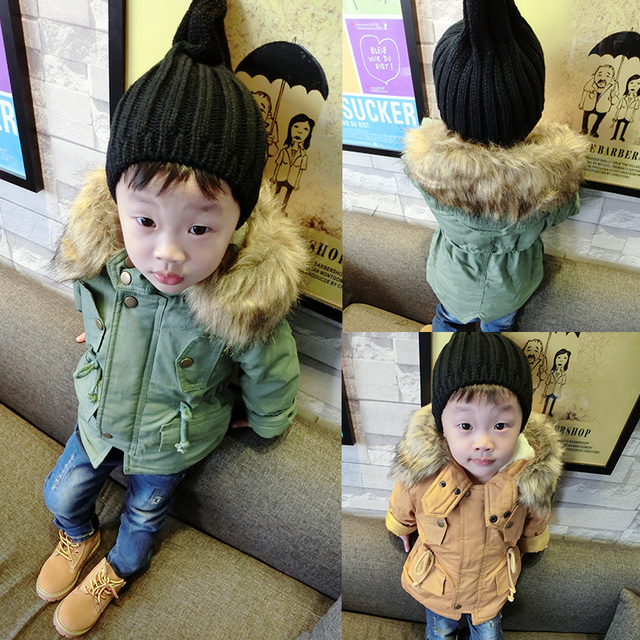 Children's dust coat baby boy winter type cotton  wool coat with thick cotton-padded jacket small children cotton 0-2 years old