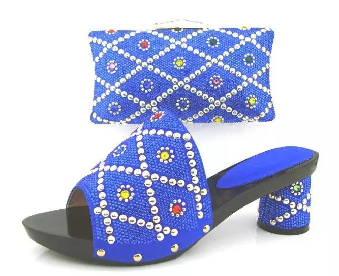 ФОТО Charming Sexy Blue Color African Wedding Shoe and Bag Sets Women Shoe and Bag To Match for Parties Top Quality TH02 Size 38-43