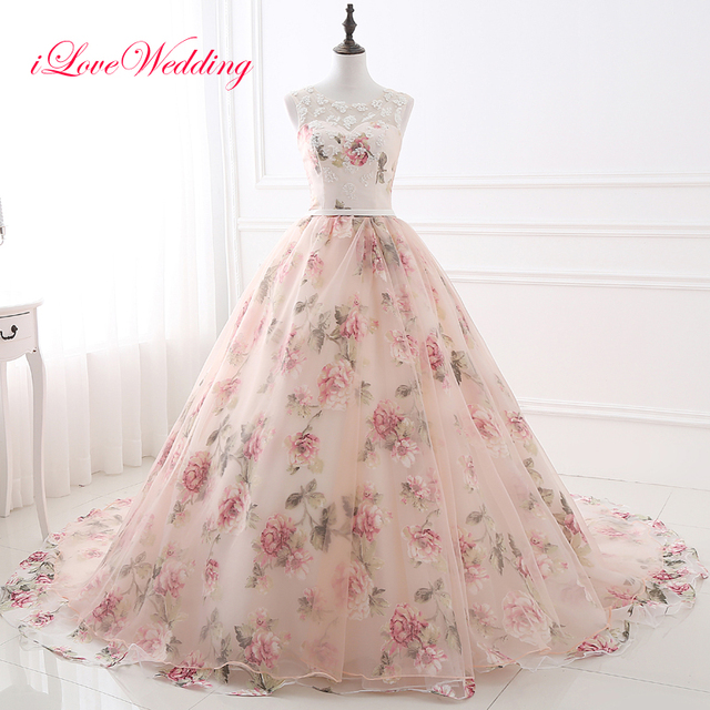 Elegant Floral Printed Ball Gown Evening Dresses Sheer Straps Scoop ...