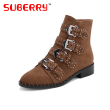 SUBERRY Brand Desgin Women Boots Suede Cowhide Metal Buckle Strap Decorated Stacked Heel Woman Shoes Spring Autumn Ankle Boots