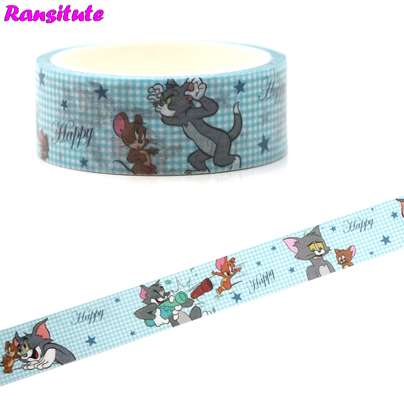 Ransitute R453 Cat And Mouse Washic Paper Tape Japanese Style Hand-held Tape Decorative Masking Tape Detachable Tape Stickers