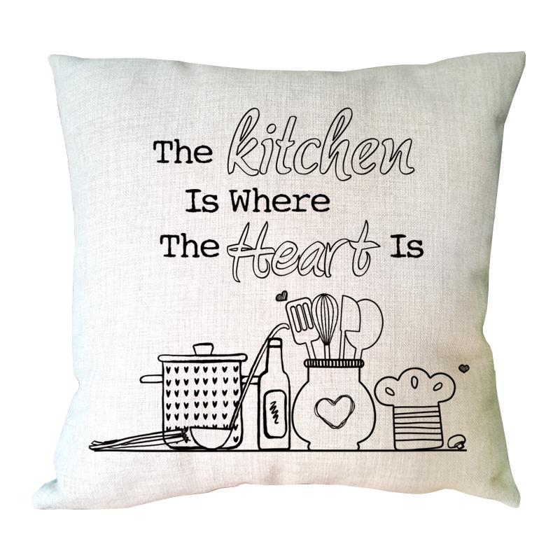 kitchen cushion covers white island with stools letter the is where heart printed customized cover linen pillowcase cartoon vintage for home decoration in from