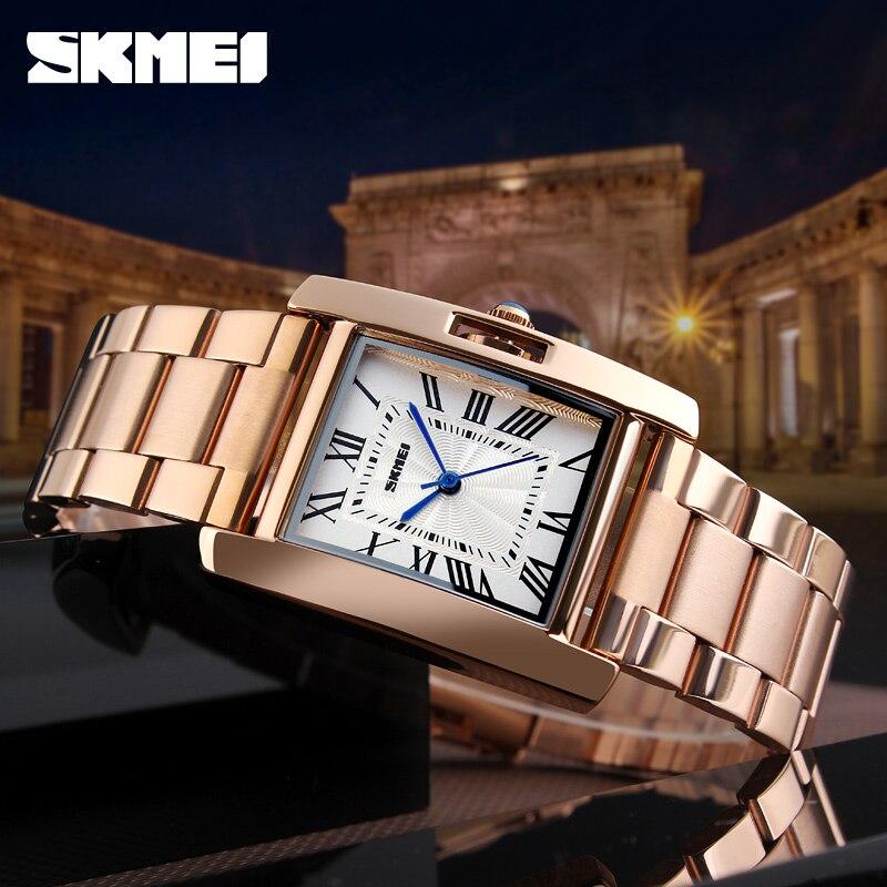 SKMEI offres spéciales dames Montre horloge femmes montres de luxe en acier inoxydable analogique Quartz Montre femmes Relogio Feminino Montre Femme