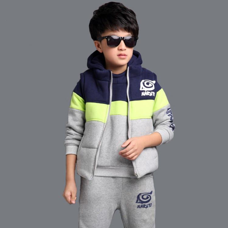 Fashion Baby Boys Clothing Sets Winter Cotton Keep Warm Kids Suits O-neck Children Clothes Sets Waistcoat + Coat + Pants 3pcs