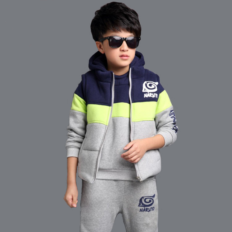 Fashion Baby Boys Clothing Sets Winter Cotton Keep Warm Kids Suits O-neck Children Clothes Sets Waistcoat + Coat + Pants 3pcs