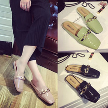 Slippers female summer wear new fashion shoes lazy no heel baotou half drag flat square sandals