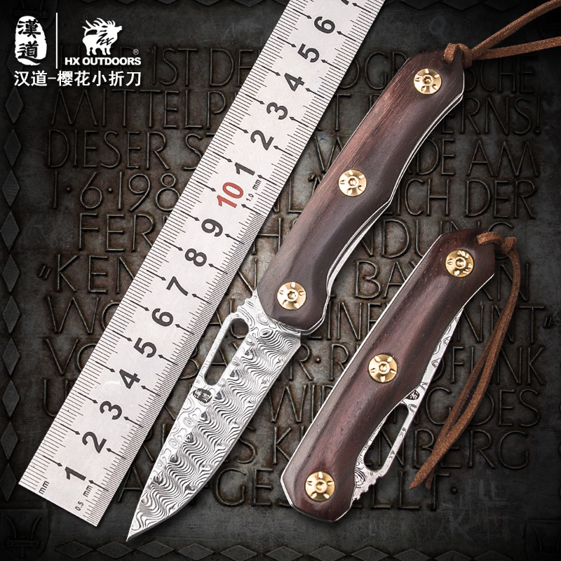Damascus Steel Folding Blade Knife Camping Hunting Tactical Survival Knives Dalbergia louvelii Handle Outdoor Pocket EDC Tools quality tactical folding knife d2 blade g10 steel handle ball bearing flipper camping survival knife pocket knife tools