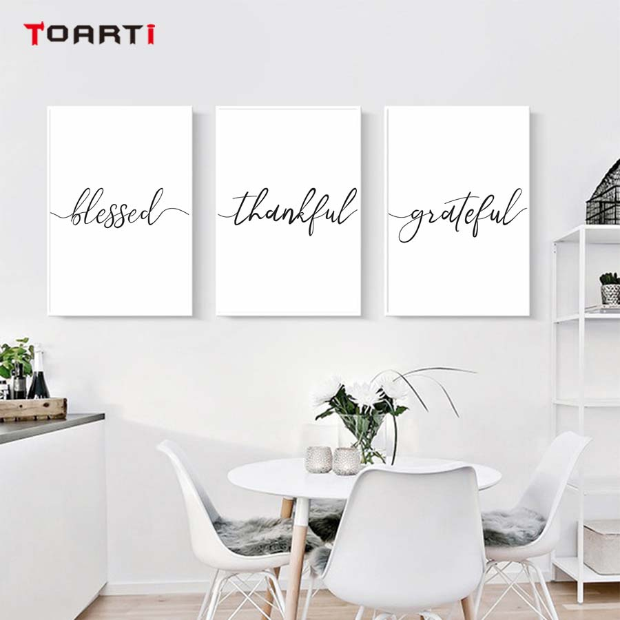 Minimalist Thankful Blessed Term Wall Art Canvas Poster Print Quotes Grateful  Life Painting Pictures For Living Room Home Decor