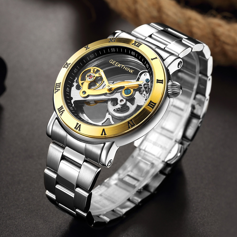 GEEKTHINK Hollow Automatic Mechanical Watches Men Brand Luxury Stainless Skeleton Transparent Watch waterproof Relojes masculino