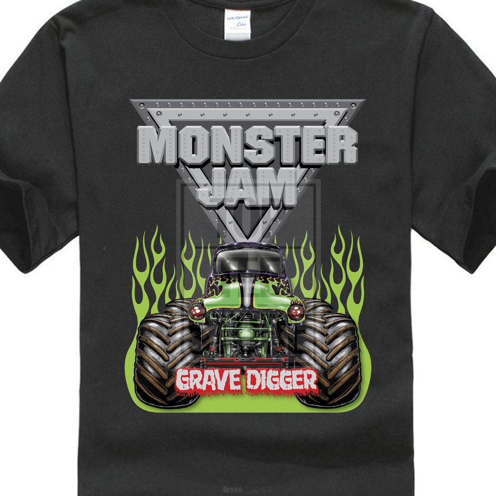 2017 New Casual Monster Jam Grave Digger Monster Truck Design Men s 100% Cotton  T Shirt High Quality O-Neck Short Sleeve Tees d574d0a7c