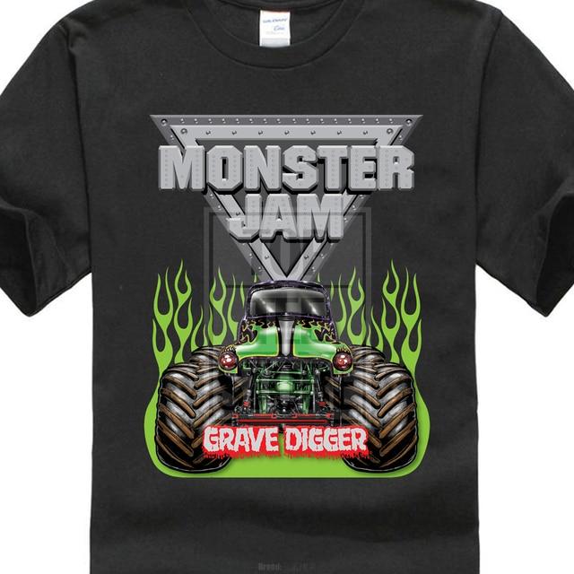 2017 New Casual Monster Jam Grave Digger Monstre Camion Conception hommes  de 100% Coton T a99ef1c4c6b