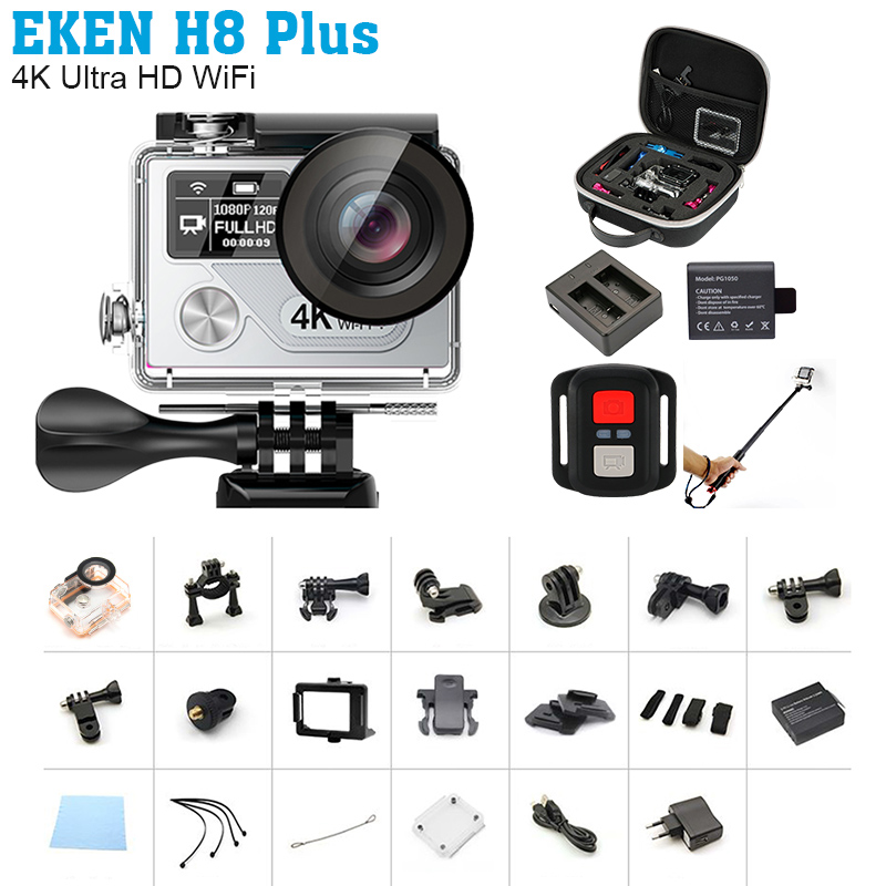 Geniun Eken H8 plus Camera Ultra HD Action Camera 4K/30fps 1080p/120fps wifi Ambarella A12S75 Go waterproof mini cam pro yi 2