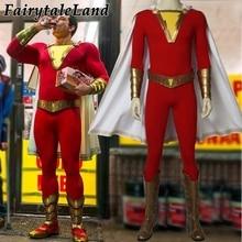 2019 Movie Shazam! Cosplay Kostuum Custom Made Halloween Kostuums Superhero Shazam Kostuum Fancy Jumpsuit