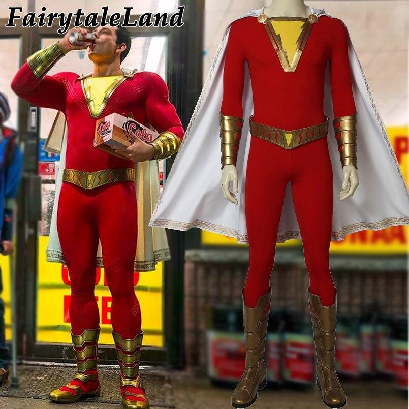 2019 film Flash-shazam! Cosplay Kostüm Nach Maß Halloween Kostüme Superhero Flash-shazam Kostüm Phantasie Overall Kostenloser versand