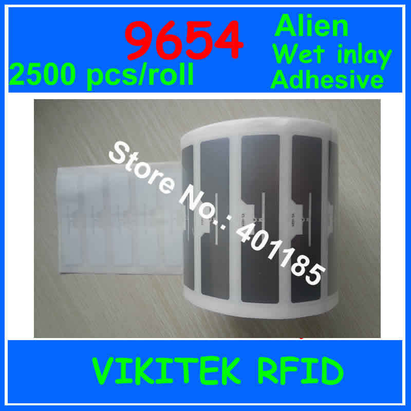 Alien authoried 9654 UHF RFID 2500pcs per roll adhesive wet inlay 860-960MHZ Higgs3 EPC C1G2 ISO18000-6C used to RFID tag label uhf rfid passive tags alien 9629 dry inlay 860 960mhz higgs3 epc c1g2 iso18000 6c can be used to rfid tag label 100pcs per roll