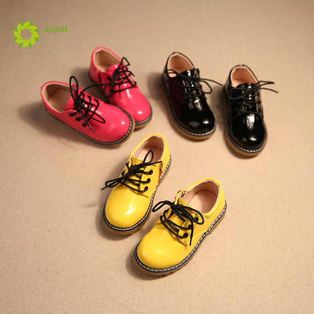 JRQIOT 2017 New Autumn Chidren Leather Shoes PU Flat With Bright Leather Shoes Fashion Casual Martin Boots Boys Shoes
