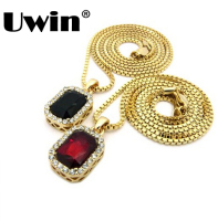 Micro Ruby Red Black Square Pendant 2 4mm 24 Box Chain Gold Tone Iced Out Pendant