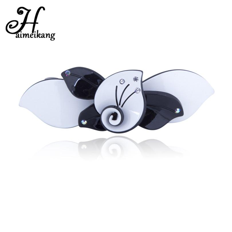 Haimeikang Korean Fashion Women Acrylic Flower Hairpins Headwear For Girls Mini Rhinestone Hair Clip Hairgrip Hair Accesssries