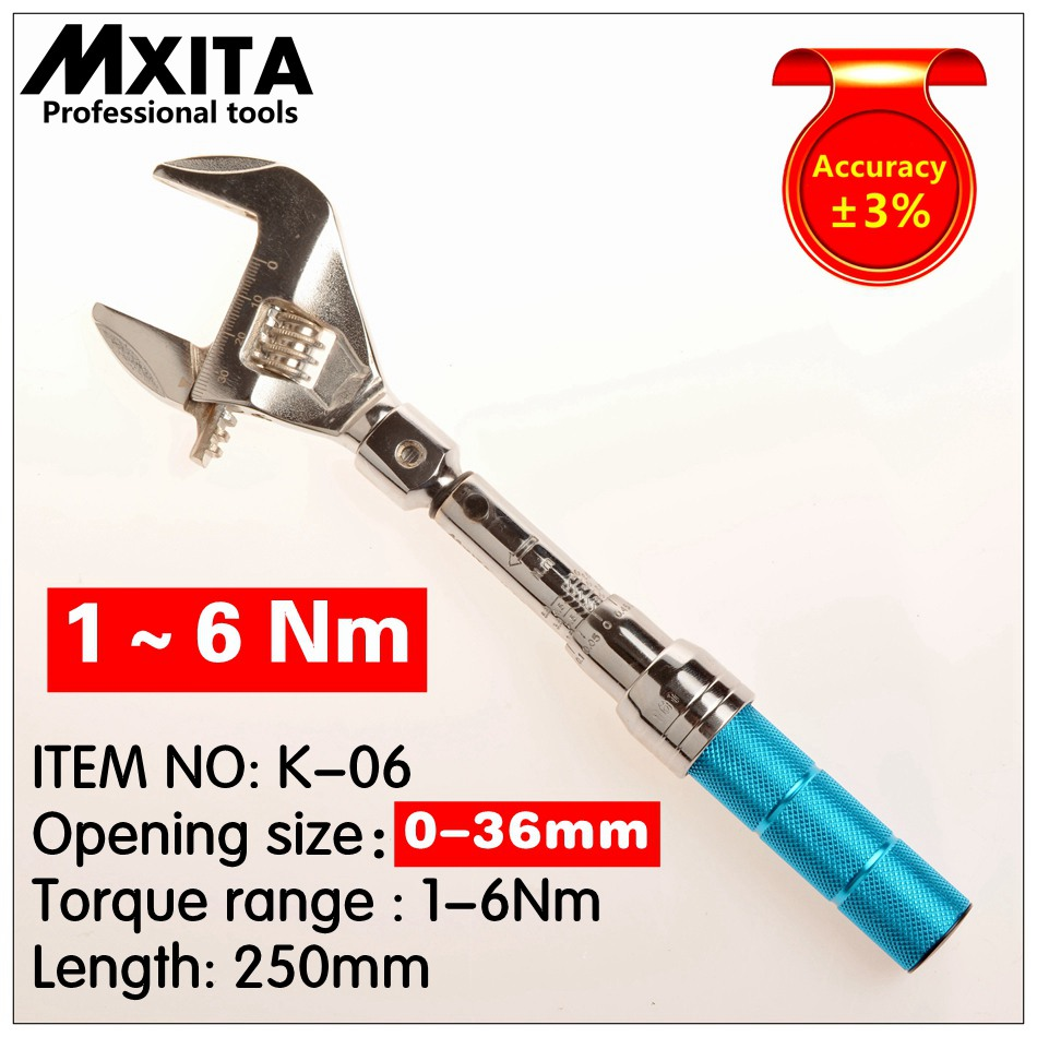 MXITA OPEN Adjustable Torque Wrench 1 6Nm accuracy 3 wrench Insert Ended head Torque Wrench Interchangeable