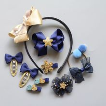 10pcs kids girls hair accessories hair bows hairbands ear head hoop crown Pom Pom hair clips for girls flower hair ties bands