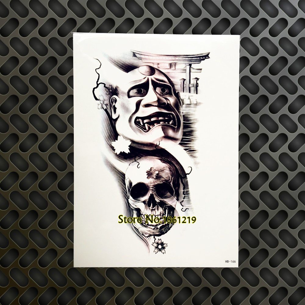 1pc Large Cool Arm Sleeve Tattoo 3d Skull Head Ghost Door Design