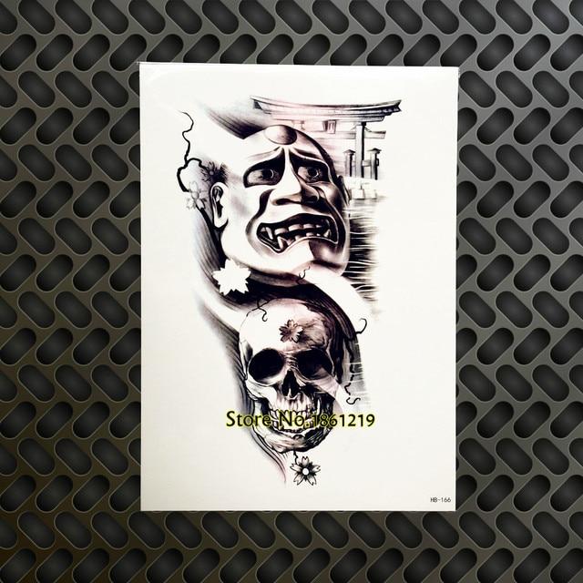 1PC Large Cool Arm Sleeve Tattoo 3D Skull Head Ghost Door Design Waterproof Chest Decals Temporary & 1PC Large Cool Arm Sleeve Tattoo 3D Skull Head Ghost Door Design ...