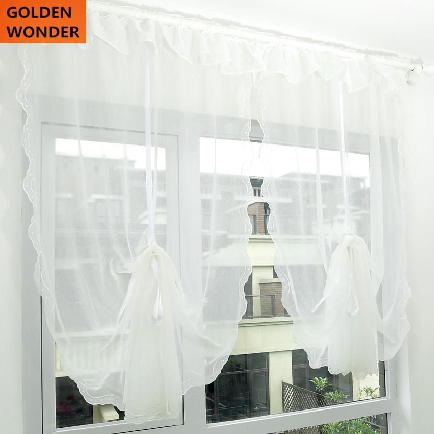 €21.3 10% de réduction|Fil froissé Falbala rideau fenêtre écran Rome ballon  Cortina moderne rideau cuisine chinois Tulle mousseline de soie rideau ...