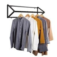 Modern Black Metal Wall-Mounted Retail Boutique Garment Clothing Rod Rack