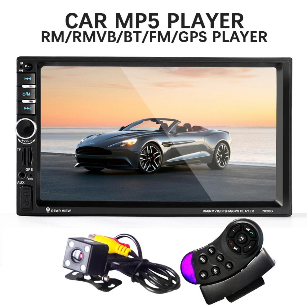 7020G 2 Din Car Mp3 MP5 Player Bluetooth AUX/USB/FM GPS Navigation Remote Control Touch Screen Car Audio With Rear View Camera 7 touch screen car mp5 player 2 din bluetooth 1080p fm usb gps navigation with rear view camera remote control up to 32g